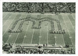 Band formation at Iowa vs. Washington football game, The University of Iowa, October 3, 1964