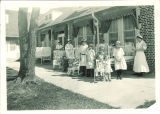 Children sunning on veranda at Children's Hospital, The University of Iowa, September 1925