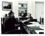 Mary Louise Smith in Oval Office with Pres. Gerald Ford, Washington, D.C., May 8, 1975