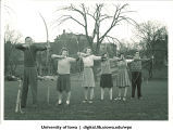 Archers in field adjacent to Iowa Memorial Union, The University of Iowa, 1930s