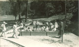 Students playing in sandbox, The University of Iowa, May 19, 1932