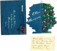Ellen Morrison Christmas card to Helen Patricia (Patsy) Wilson exchanging bookplates and best wishes.