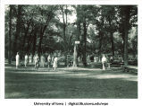 Volleyball games at a picnic, The University of Iowa, 1940s