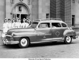 Nurses with ambulance, The University of Iowa, 1948