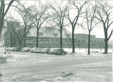 Parking lot of Old Armory, The University of Iowa, 1940s