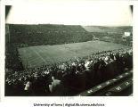 Birdseye view of Iowa stadium and football game, The University of Iowa, 1953?