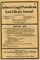 Index to Legal Periodicals and Law Library Journal V. 1(1)