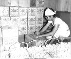 Packing eggs for sale, Atarashiki Mura commune, Saitama-ken, Japan, 1965