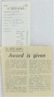 1970 - Award is Given to SCS Staff