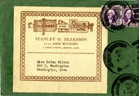 Stanley O. Bezanson correspondence to Helen Patricia (Patsy) Wilson, stamped envelope.