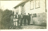 Mehl family posing outside house, Lime Springs, Iowa, August 1910