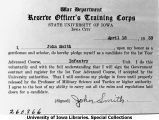 ROTC Infantry enrollment pledge card, The University of Iowa, April 18, 1933