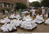 Volunteers sandbagging outside Iowa Memorial Union, The University of Iowa, June 12, 2008