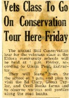 Veterans class to go on conservation tour.