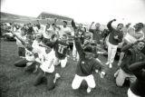 Alpha Kappa Lambda and Delta Sigma Pi in the winning Yell-Like-Hell skit for Homecoming, 1987