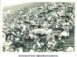 Spectators at Iowa football game, The University of Iowa, 1940s-1950s?