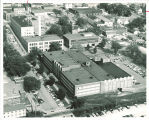 Aerial view of Main Library and its surroundings, the University of Iowa, circa 1961