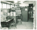 Gilmore Hall law library overflow stored in barracks, the University of Iowa, circa 1954