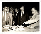 Vice President Wallace inspecting food served at Restaurants Populares, Lima, Peru, 1943