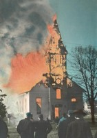 St. Peter Lutheran Church in Garnavillo, Iowa -1945 fire-view 2