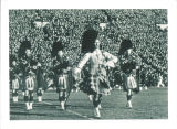 Scottish Highlanders marching on Iowa Field, The University of Iowa, November 11, 1939