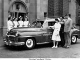 Hospital staff posed with new ambulance, The University of Iowa, 1948