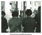Moment of silence at Martin Luther King, Jr. memorial service, the University of Iowa, April, 1968