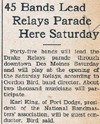 Drake Times-Delphic, 1938, 45 Bands Lead Relays Parade Here Saturday