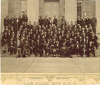 Law class of 1879 on steps of Old Capitol, The University of Iowa