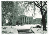 West facade and terrace of Old Capitol in winter, the University of Iowa, 1960s