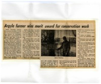 Newsclipping regarding Jim Hawkins Merit Certificate awarded by the Lee Soil Conservation District.