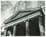 """Close up view of """"Liberal Arts"""" on east portico of Schaeffer Hall, the University of Iowa, 1957"""