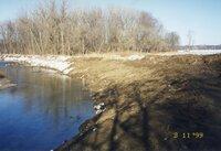 1999 - Stream bank on Richard Osborn's property before<br /> erosion control project