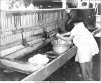 Girls at shared washbasin, Yamagishi Kai commune, Mie-ken, Japan, 1965
