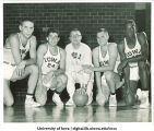 Iowa basketball players with head coach Bucky O'Connor, The University of Iowa, 1950s