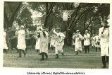 Marching band in parade, The University of Iowa, 1910s