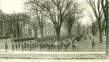 Military review on Pentacrest on Armistice Day, The University of Iowa, November 11, 1918