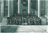 Scottish Highlanders on steps of Old Capitol, The University of Iowa, 1952
