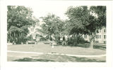 Cars parked in front of Westlawn, The University of Iowa, 1930