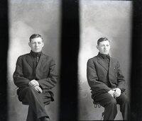 Two photos of man sitting