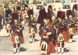 Scottish Highlanders marching in parade, The University of Iowa, 1978