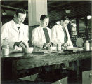 Pharmacy students working with mortars and pestles, The University of Iowa, 1940s