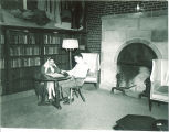 Students reading in Iowa Memorial Union library, the University of Iowa, 1950s
