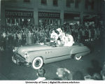Homecoming parade on Clinton Street, The University of Iowa, 1940s