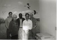 1991 - Des Moines County Soil and Water Conservation District employees include front row: Doug Ensminger and Dorothy Davis. In the back row are John Fruehling, Terry Cosby, and John Horan