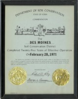 1971 - Commendation Certificate for 25 years