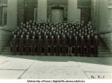 Cadets of Company C-1 on steps of the Old Capitol, The University of Iowa, ca. 1943