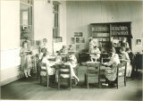 School children in library, The University of Iowa elementary school, 1919?