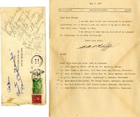 Aidan Arthur O'Keefe thank you letter to Helen Patricia (Patsy) Wilson exchanging bookplates and contacts.