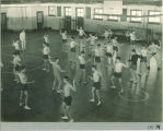 Fencing class in Old Armory, The University of Iowa, January 1925